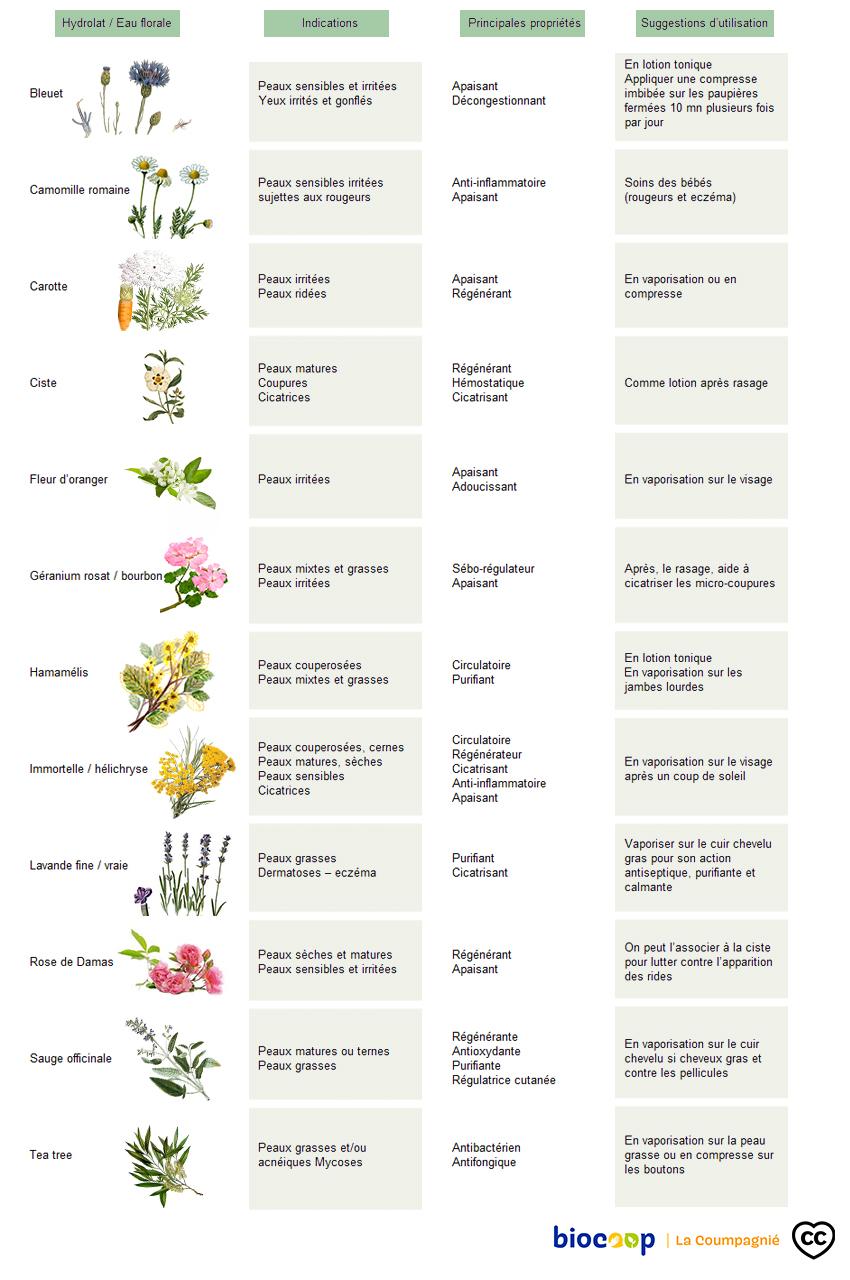 Tableau des hydrolats par types de peaux, Biocoop-la Coumpagnié
